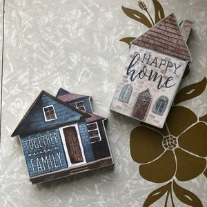 NWT 2 Wooden Shadow Box Home Family House Signs